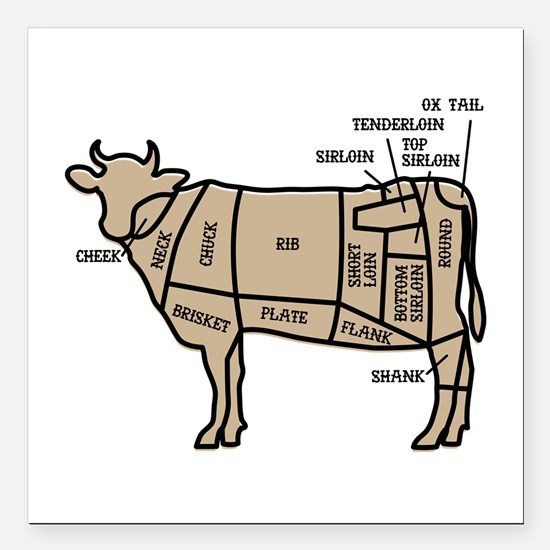 "Beef Cuts Square Car Magnet 3"" x 3"""