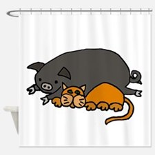 Pig and Cat Love Shower Curtain