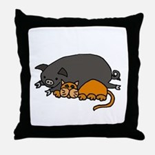 Pig and Cat Love Throw Pillow