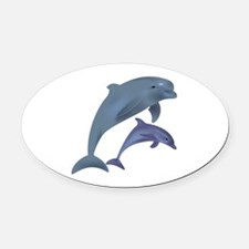 Unique Dolphin blue water Oval Car Magnet