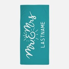 Mr and Mrs Personalized Teal Beach Towel