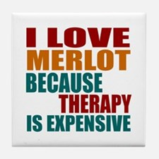 Drink Merlot Is My Therapy Tile Coaster