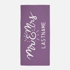 Mr. and Mrs. Personalized Lilac Beach Towel