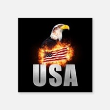 USA Flag on fire with Bald Eagle 4th of Ju Sticker
