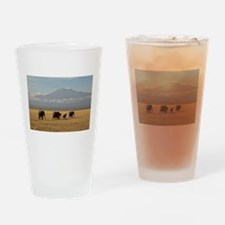 Elephants Drinking Glass