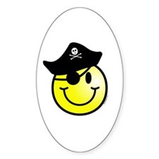 Smiley Pirate Oval Decal