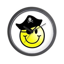 Smiley Pirate Wall Clock