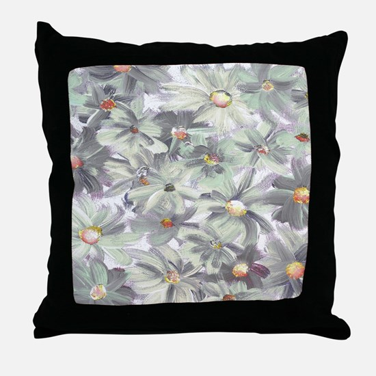 Muted Green and Gray Watercolor Flowe Throw Pillow