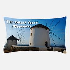 Windmills on Mykonos Island Greece Pillow Case