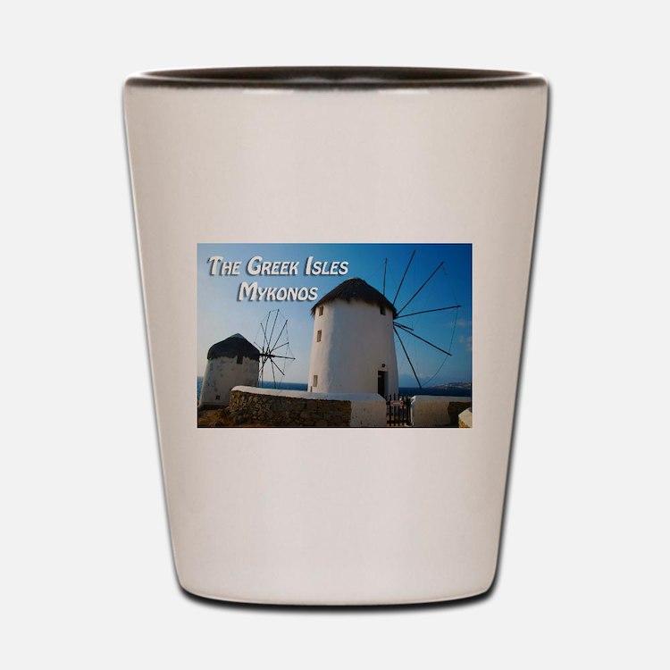 Windmills on Mykonos Island Greece Shot Glass