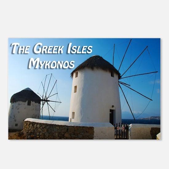Windmills on Mykonos Island Greece Postcards (Pack