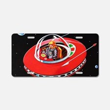 RED FLYING SAUCER Aluminum License Plate
