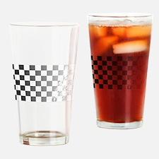 Chequered Flag Grunge Drinking Glass