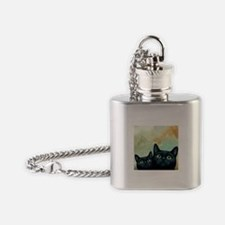 Cat 607 black Cats Flask Necklace