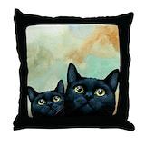 Black cat Cotton Pillows