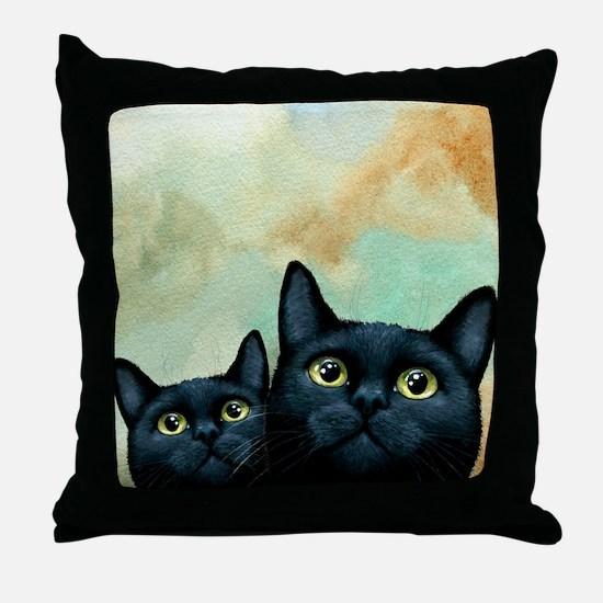 Cat 607 black Cats Throw Pillow