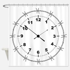 Barbed Wire Clock Shower Curtain