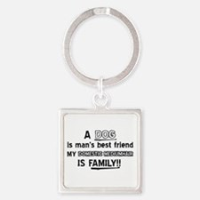 Domestic mediumhair Cat Is My Fami Square Keychain