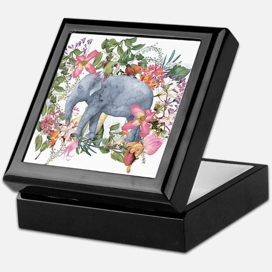 Elephant in jungle - watercolor artwo Keepsake Box