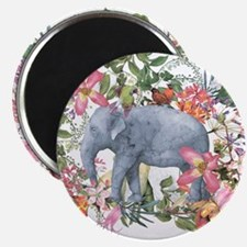 Elephant in jungle - watercolor artwork Magnets
