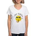I East Pussy Smiley Face Women's V-Neck T-Shirt