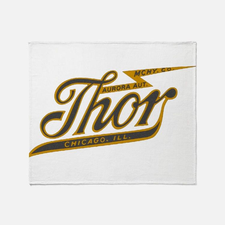 Thor Motorcycle Chicago Retro Throw Blanket