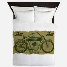Thor Motorcycle Retro Logo Queen Duvet