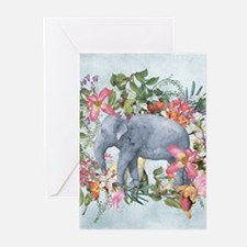 Elephant in jungle - watercolor art Greeting Cards
