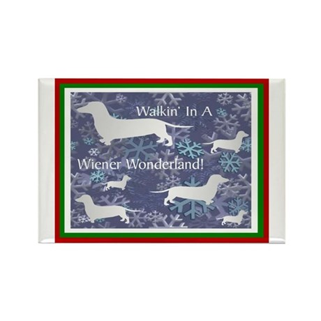 Holiday Dachshund Rectangle Magnet (10 pack)