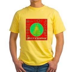 Merry Christmas Tree Of Stars Yellow T-Shirt