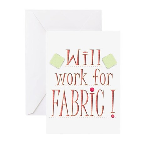 Will Work For Fabric Greeting Cards (Pk of 20)