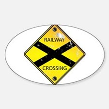 Yellow Railway Crossing Sign Decal