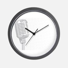 Grey Microphone Background Wall Clock