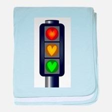 Love Heart Traffic Lights baby blanket