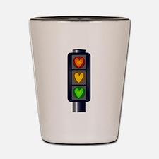 Love Heart Traffic Lights Shot Glass