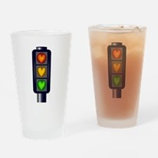 Love Heart Traffic Lights Drinking Glass