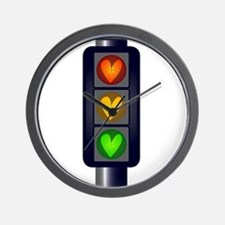 Love Heart Traffic Lights Wall Clock
