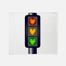 Love Heart Traffic Lights Throw Blanket