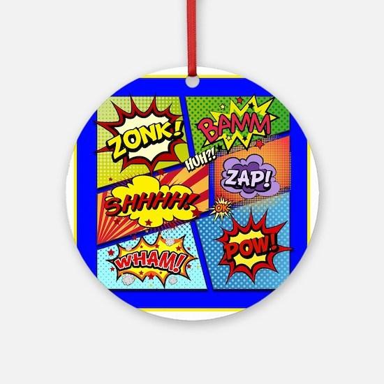 Fun Comic Book Art Round Ornament