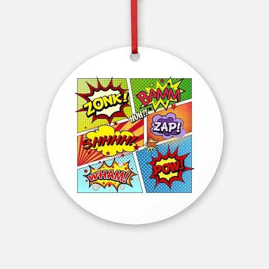 Colorful Comic Round Ornament