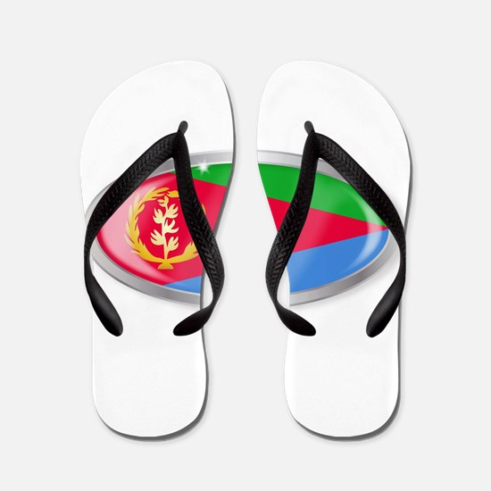 Eritrea Flag Oval Button Flip Flops