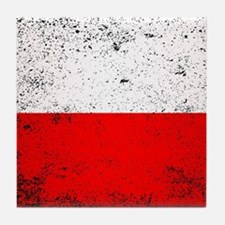 Flag of Poland Grunge Tile Coaster
