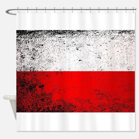 Flag of Poland Grunge Shower Curtain