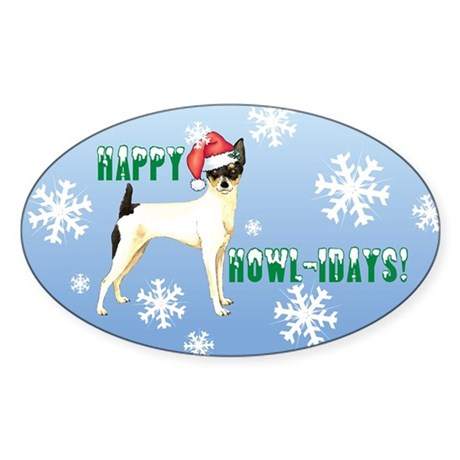 Holiday Toy Fox Terrier Oval Sticker