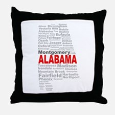 Alabama State Word Cloud Throw Pillow