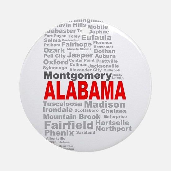 Alabama State Word Cloud Round Ornament