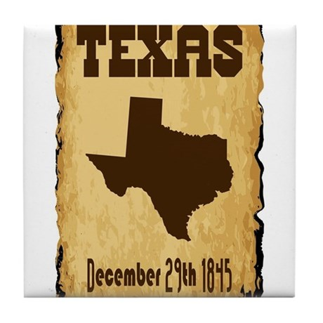 Texas Admission To The Union Date Tile Coaster By Admin