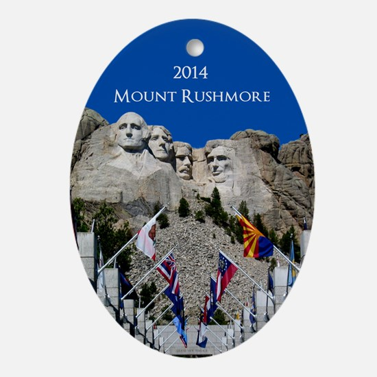 Customizable Mt Rushmore Avenue of Flags Oval Orna