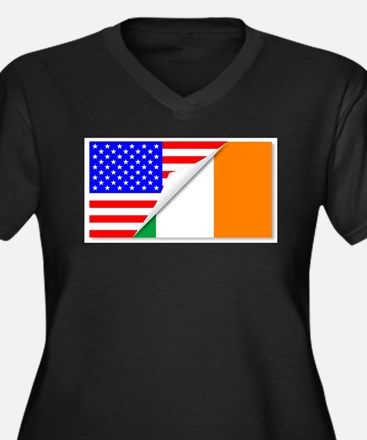 United States and Eire Flags Com Plus Size T-Shirt