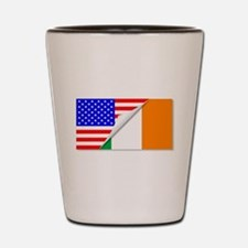 United States and Eire Flags Combined Shot Glass